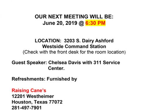 HPD Westside Divisional P.I.P. Meeting, June 20