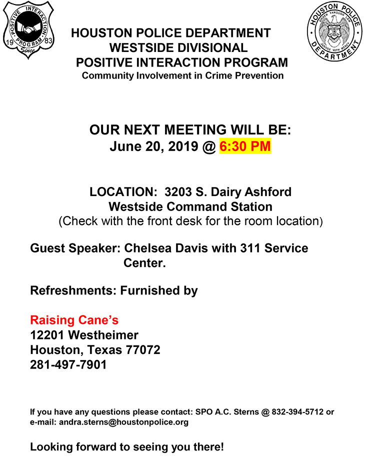 HPD Westside Divisional P I P  Meeting, June 20 – Southwest