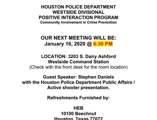 HPD Westside Divisional P.I.P. Meeting, Jan. 16