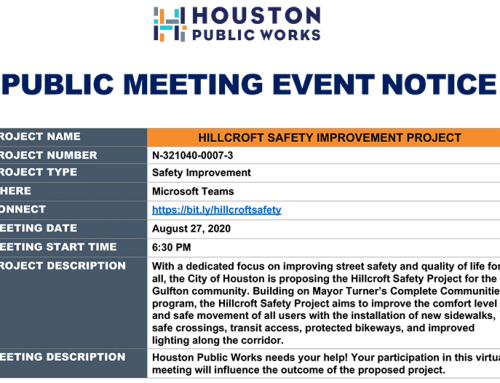Please join this online public meeting to give the city feedback about the Hillcroft Safety Project.