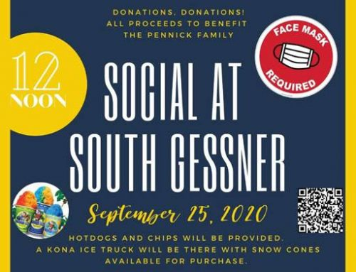 Fundraiser at S Gessner HPD for Sgt Pennick – Noon on Friday 9/25